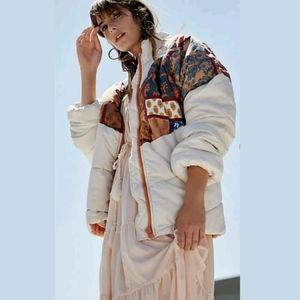 Free People Isobel Patchwork Retro Puffer coat